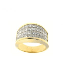 yellow gold princess diamond band