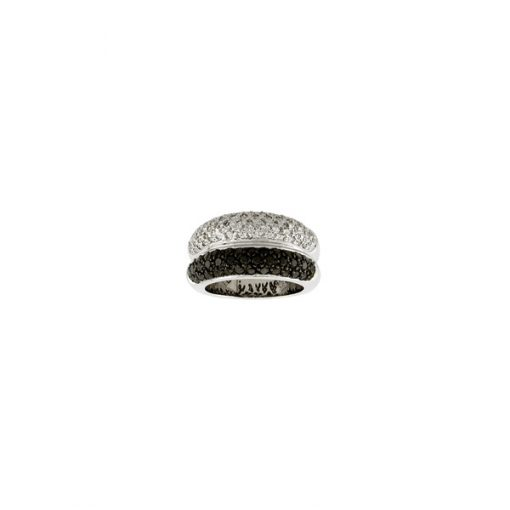 pave gold black & white diamond band