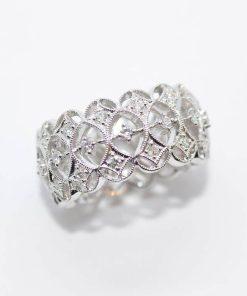 white gold open design diamond band
