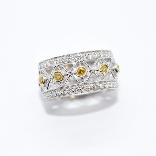 yellow & white diamond wedding band
