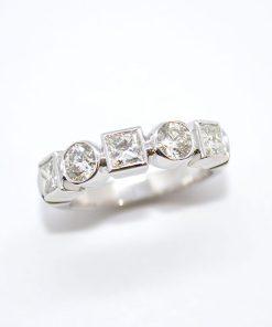 round & princess diamond band