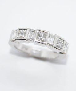 princess cut & baguette diamond band