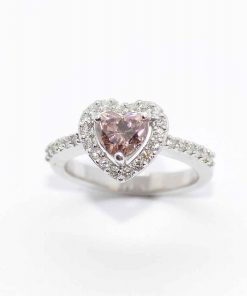 14k White Gold Pink Diamond Engagement Ring