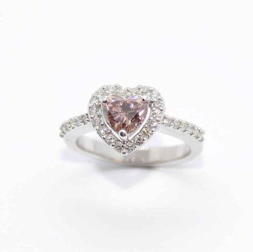 14k White Gold Pink Diamond Engagement Ring