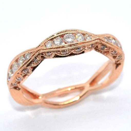 pink gold diamond eternity band