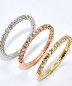 18k Tri-Color Gold Diamond Eternity Bands