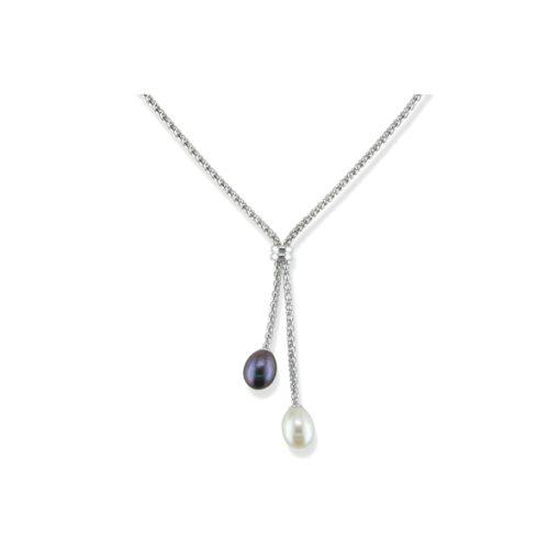black & white pearl lariat necklace