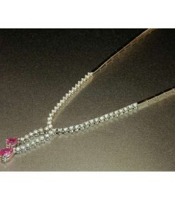 white & pink diamond necklace