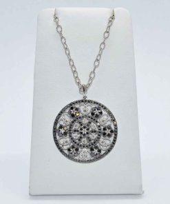 black & white diamond cluster pendant