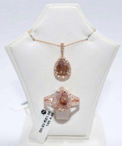 pink gold diamond pendant set