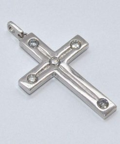 satin finish 14k white gold diamond cross