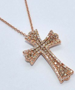 pink gold diamond cross