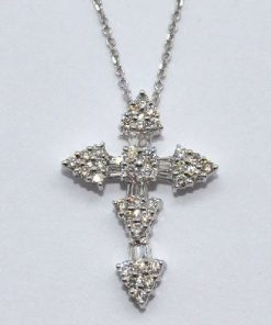 round & baguette diamond cross