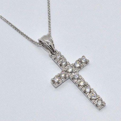 round cut diamond cross