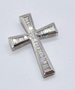 diamond cross satin finish white gold