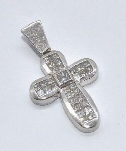 satin finish white gold diamond cross