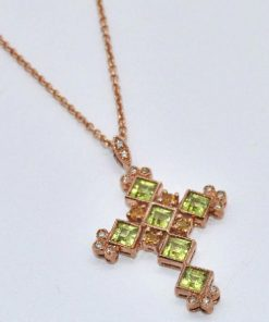 peridot & citrine cross in pink gold