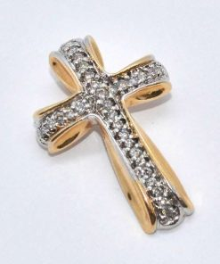 two-tone gold diamond cross