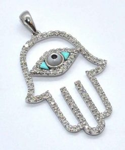 Diamond Hamsa Hand Pendant
