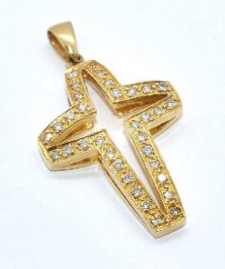 open design diamond cross yellow gold