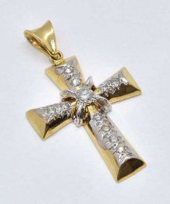 two-tone diamond cross