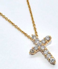 round cut diamond cross yellow gold