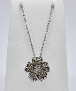 Chocolate Diamond Flower Pendant