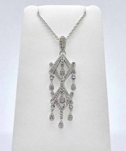 white gold diamond chandelier pendant