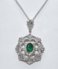 Antique Diamond Emerald Pendant