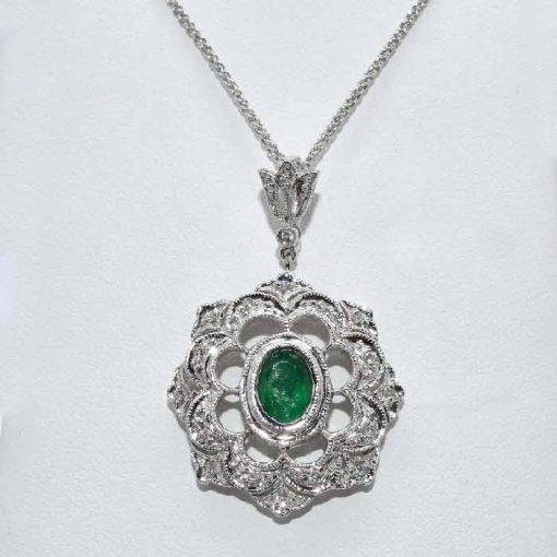 Antique Diamond Emerald Pendant