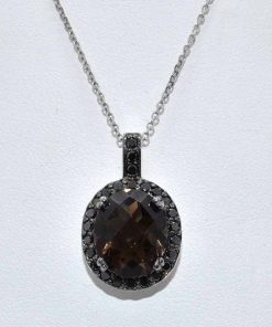 Black Diamond Pendant with Oval Smokey Topaz