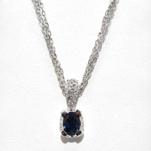 Blue Sapphire Pendant with Diamond Bail
