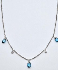Diamond and Pear Shaped Blue Topaz Necklace
