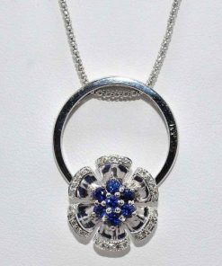 diamond & sapphiore flower pendant
