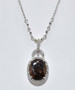 Diamond and Oval Smokey Topaz Pendant