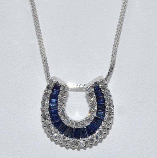 Diamond and Sapphire Horseshoe Pendant