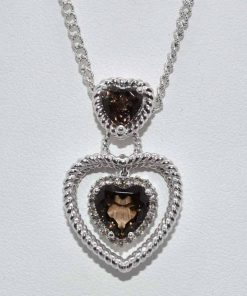 Smokey Topaz Heart & Diamond Pendant