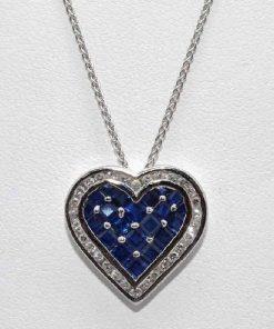 Princess Cut Sapphire Heart Pendant
