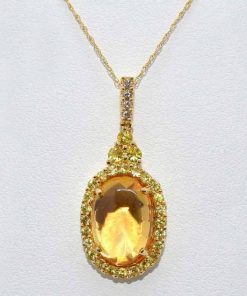 Diamond and Citrine Pendant