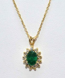 Oval Shaped Emerald Pendant