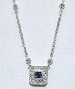 Diamond and Blue Sapphire Pendant
