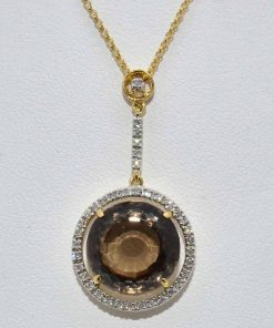 Diamond and Smokey Topaz Pendant
