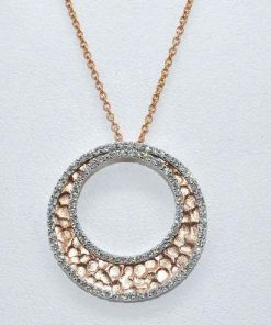 Hammered 14k Rose Gold Diamond Pendant
