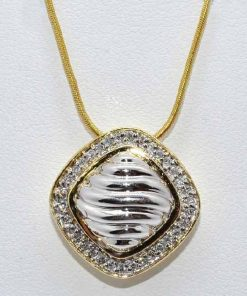 two-tone gold diamond pendant