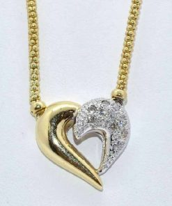 Half Diamond Pave Heart Pendant