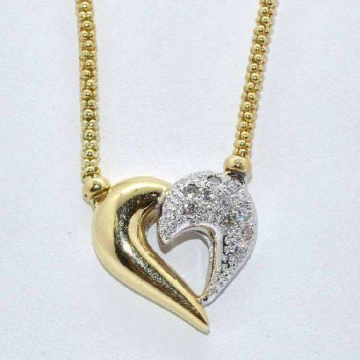 Half Diamond Pave Heart Pendant