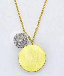 Plain Matted Disc with Diamond Circle Pendant