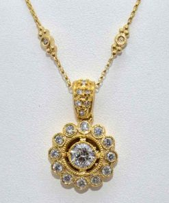 Antique Style Solitaire Diamond Pendant