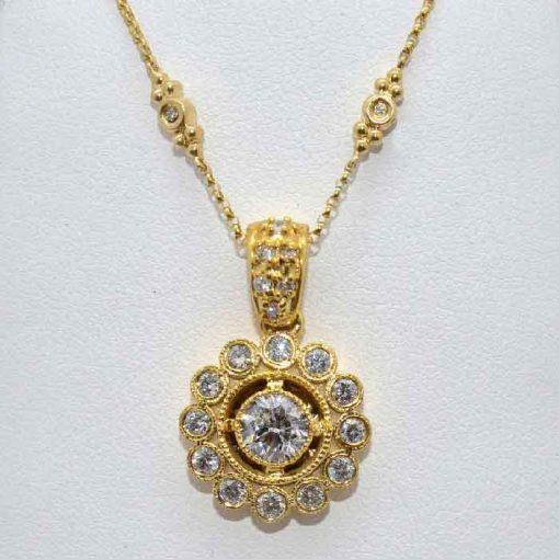 Antique Style Solitaire Diamond Pendant