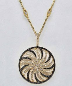 Black and White Diamond Round Pendant